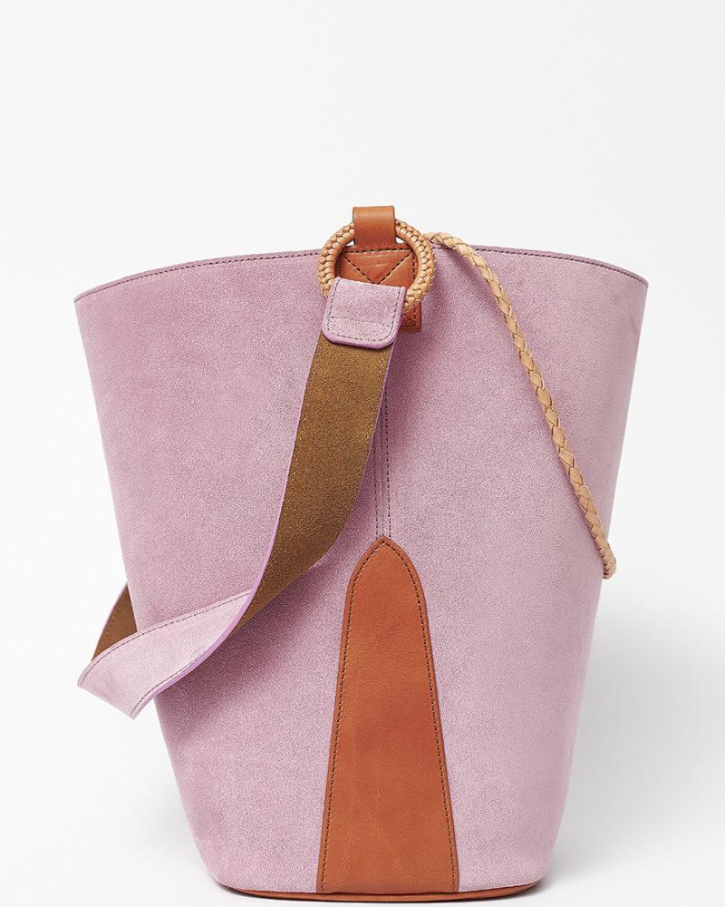 bolso cubo rosa serraje
