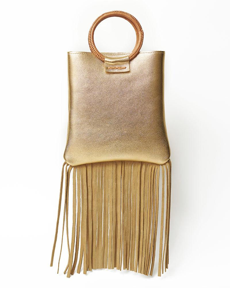 bolso de flecos dorado
