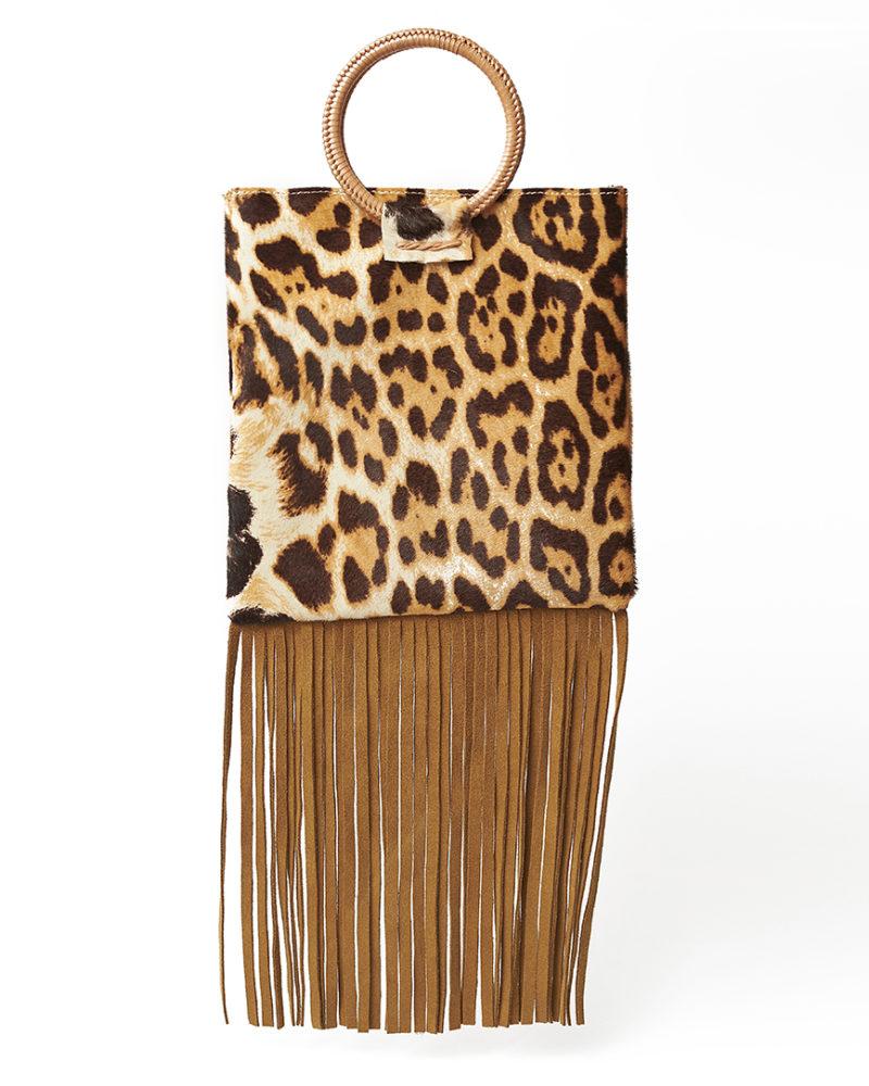 bolso flecos print leopardo