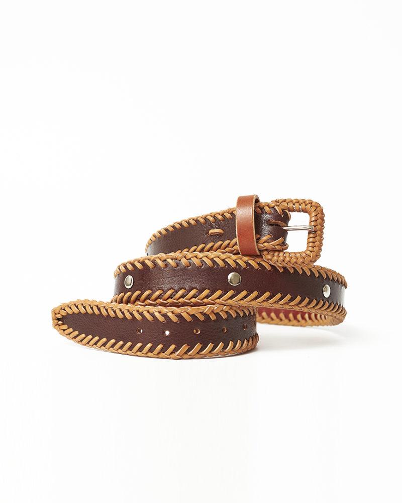 cinturón natural piel tachuelas