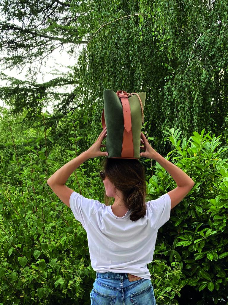 Bolso cubo serraje bicolor verde oliva